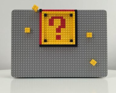 macbook with brik case